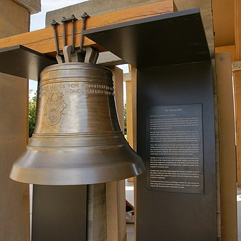 Mis-Cast Bell on display, Bell Tower at Mission Hill Estate Winery, Kelowna, B.C., Canada