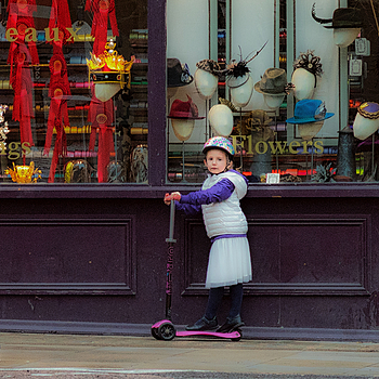 Little girl at Rouleaux  Ribbons Shop