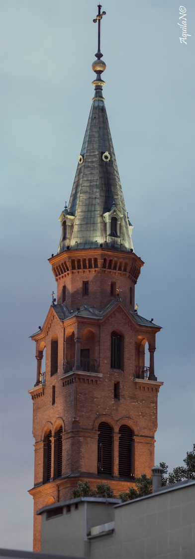 Nowolipki's Church Tower (early Night) | ZEISS JENA PRAKTICAR 4/300 <br> Click image for more details, Click <b>X</b> on top right of image to close