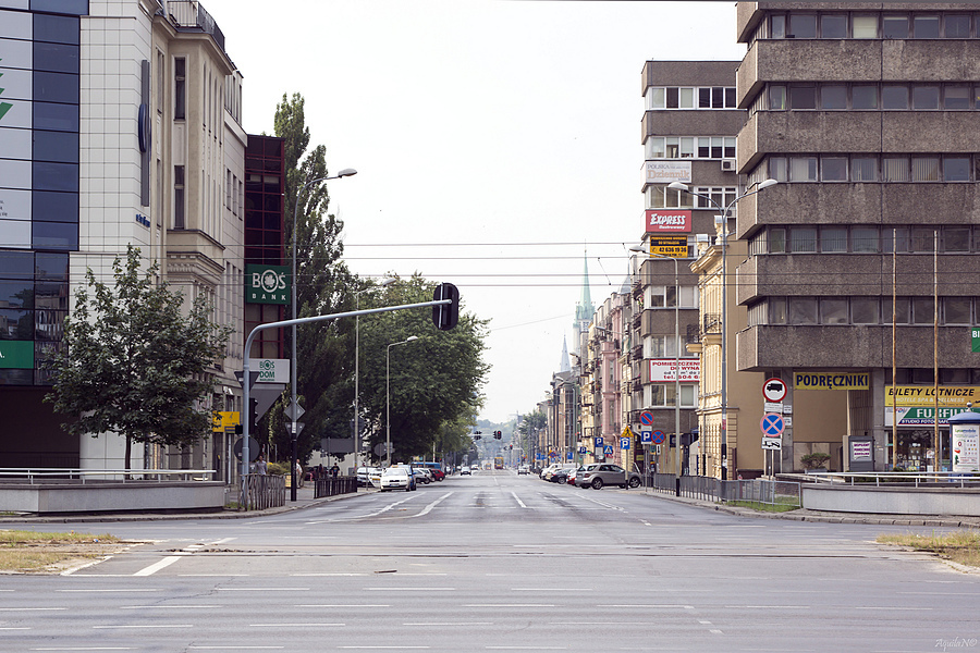 2nd part of Piotrkowska St. with common trafic /Łódź/ | CARL ZEISS JENA VARIO-PANCOLAR 2.7-3.5/35-70 M42 <br> Click image for more details, Click <b>X</b> on top right of image to close