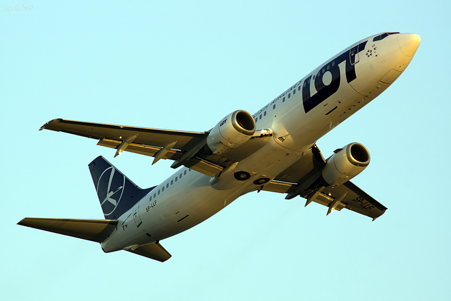 Evening fly-by of Boeing 737 (Polish Airlines) | ZEISS JENA PRAKTICAR 4/300 <br> Click image for more details, Click <b>X</b> on top right of image to close