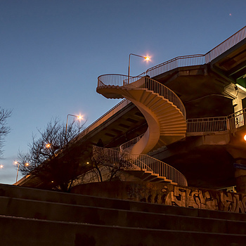 Helical Stairs of Danzig Bridge | ZEISS JENA FLEKTOGON F2.8 20MM