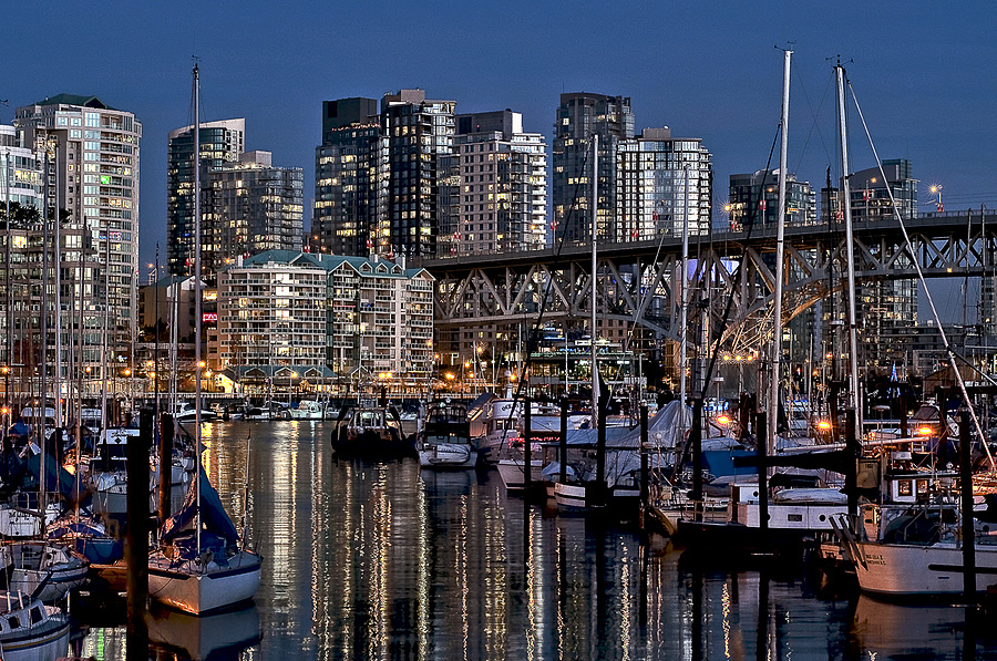 Burrard Marina night scene | ZEISS PLANAR F1.4 50MM <br> Click image for more details, Click <b>X</b> on top right of image to close