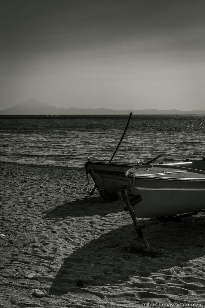 two boats and mount Athos | ZEISS PLANAR F1.4 50MM <br> Click image for more details, Click <b>X</b> on top right of image to close