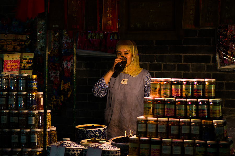 Muslim quarter/street, Xi'an, China. | ZEISS ZM C SONNAR F1.5 50MM <br> Click image for more details, Click <b>X</b> on top right of image to close