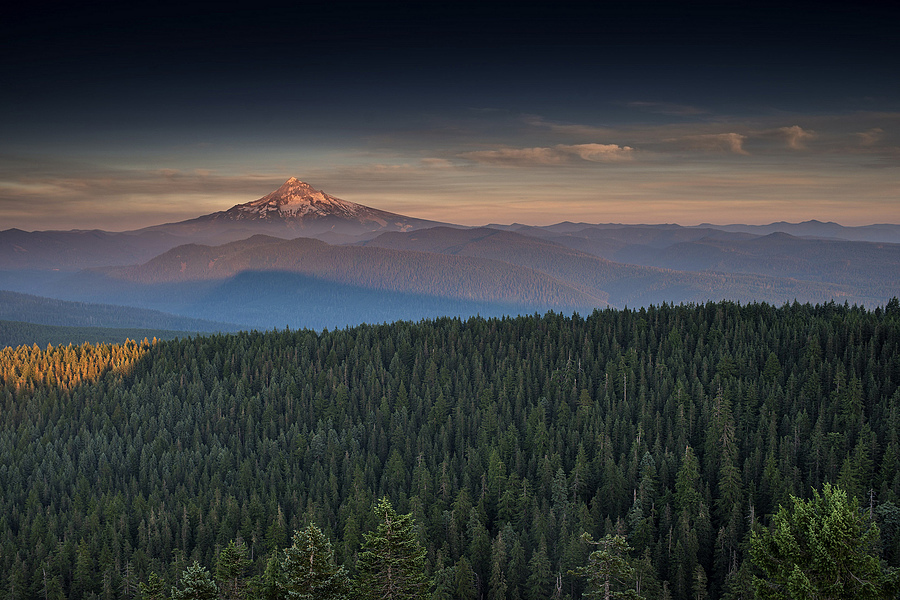 Mt Hood with forest fire smoke sunset | ZEISS DISTAGON F1.4 35MM <br> Click image for more details, Click <b>X</b> on top right of image to close