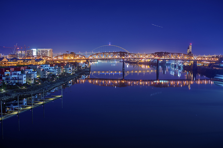 Blue hour over Willamette River | ZEISS ZEISS SONNAR 35MM F2 <br> Click image for more details, Click <b>X</b> on top right of image to close
