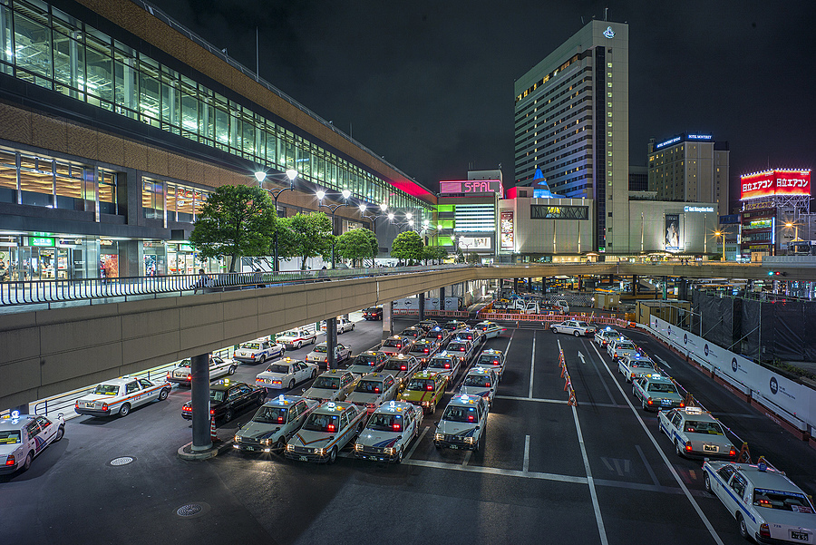 Sendai Station Taxis | ZEISS DISTAGON F2.8 21MM <br> Click image for more details, Click <b>X</b> on top right of image to close