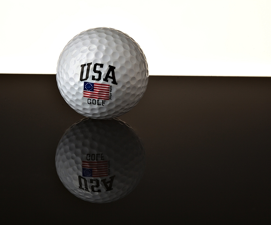 Golf ball with Betsy Ross Flag | ZEISS APO SONNAR F2 135MM <br> Click image for more details, Click <b>X</b> on top right of image to close