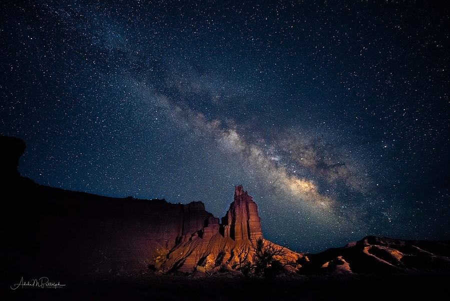 Milky Way over Chimney Rock, Capitol Reef National Park, Utah | ZEISS DISTAGON F2.8 15MM <br> Click image for more details, Click <b>X</b> on top right of image to close