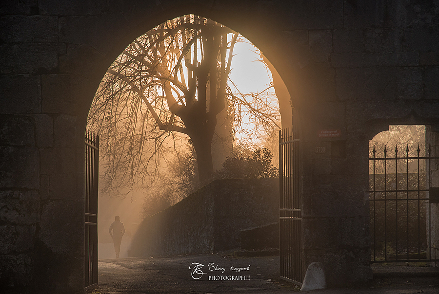The royal abbey of Hautecombe entry, at dawn in the mist. | ZEISS N VARIO SONNAR 24-85MM F3.5 - F4.5 <br> Click image for more details, Click <b>X</b> on top right of image to close