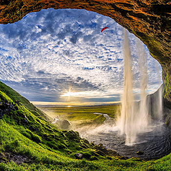 Sunset through Seljalandsfoss Eye | LENS MODEL NOT SET <br> Click image for more details, Click <b>X</b> on top right of image to close