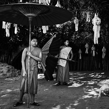 Young monks with parasols | ZEISS TOUIT F1.8 32MM <br> Click image for more details, Click <b>X</b> on top right of image to close