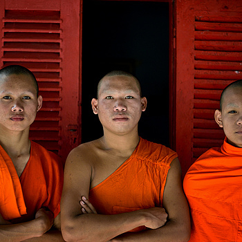 Three Buddhist Novices, Luang Prabang, Laos | ZEISS APO SONNAR F2 135MM <br> Click image for more details, Click <b>X</b> on top right of image to close