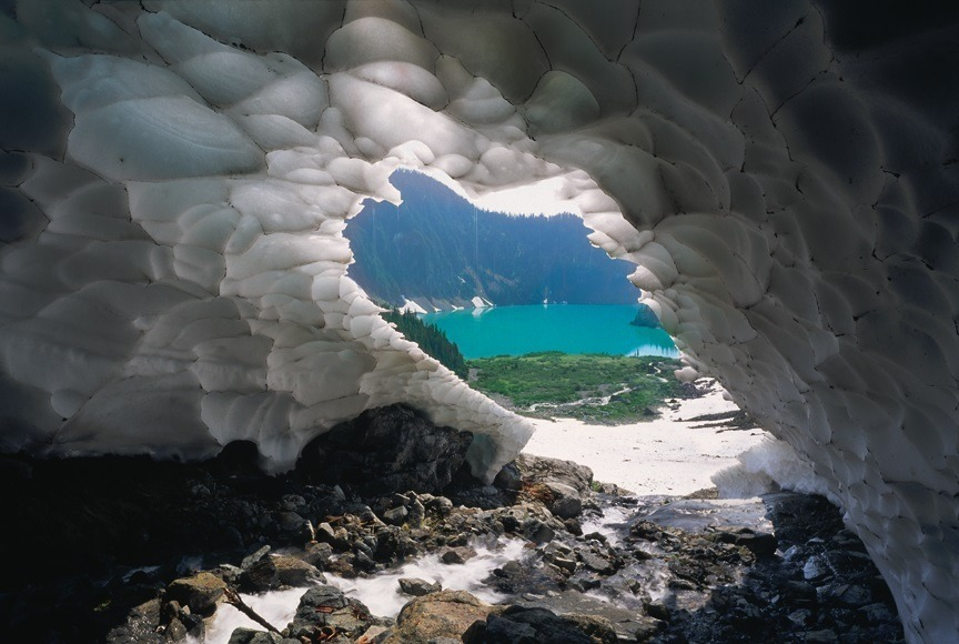 Blanca Lake Through Ice Cave. Columbia Glacier, WA. | ZEISS G BIOGON 21MM F2.8 <br> Click image for more details, Click <b>X</b> on top right of image to close