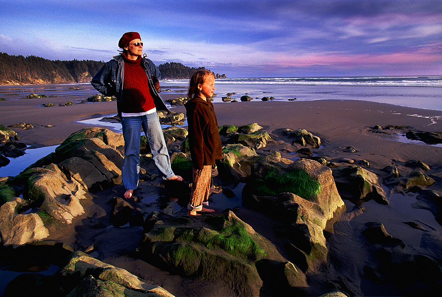 Mother and Dughter. Second Beach, Olympic Nat. Park, Washington. | LENS MODEL NOT SET <br> Click image for more details, Click <b>X</b> on top right of image to close