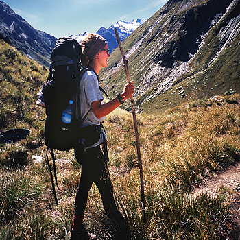 Lisa on Rees Saddle. Mt. Aspiring Nat. Park, N.Z. | ZEISS G BIOGON 21MM F2.8 <br> Click image for more details, Click <b>X</b> on top right of image to close