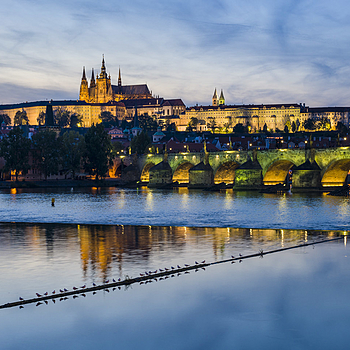 Panorama view with Prague castle and Vltava river