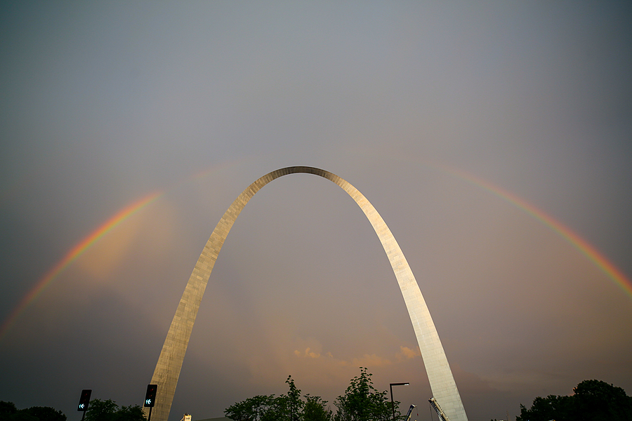 Rainbow over St. Louis Arch | ZEISS DISTAGON F2.8 21MM <br> Click image for more details, Click <b>X</b> on top right of image to close