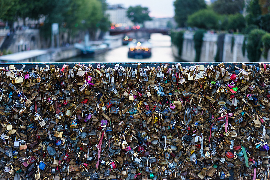 Love Locks above the Seine | ZEISS SONNAR 55MM F1.8 FE ZA <br> Click image for more details, Click <b>X</b> on top right of image to close