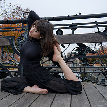 Portrait of woman doing yoga on bridge | ZEISS VARIO-TESSAR T* FE 16-35MM F4 ZA OSS <br> Click image for more details, Click <b>X</b> on top right of image to close