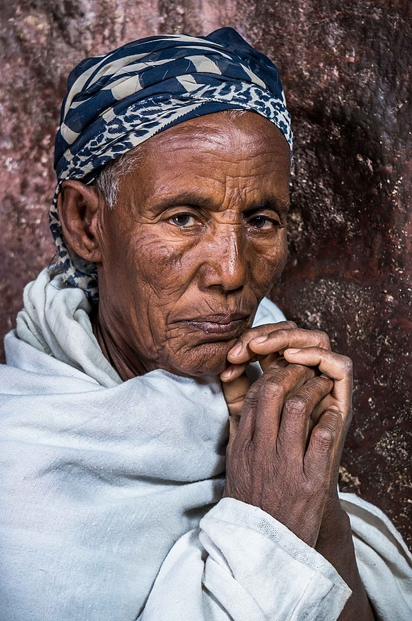 Old Ethiopian Lady Praying | LENS MODEL NOT SET <br> Click image for more details, Click <b>X</b> on top right of image to close