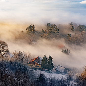 Sunset over the misty Sarajevo | ZEISS SONNAR 55MM F1.8 FE ZA <br> Click image for more details, Click <b>X</b> on top right of image to close