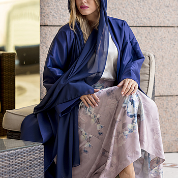 The Traditional Blue Abaya worn by Ivana Loušová Fairmont Hotel Dubai | ZEISS MILVUS 85MM F1.4 <br> Click image for more details, Click <b>X</b> on top right of image to close