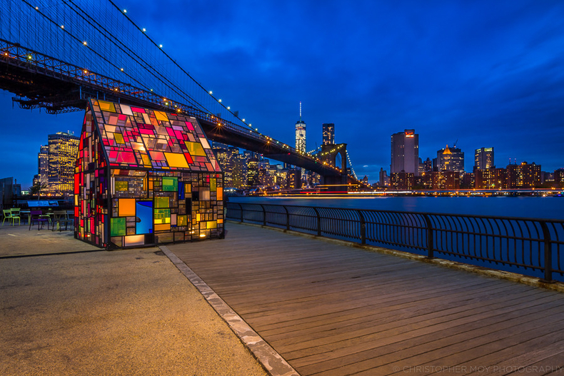 Tom Fruin's Stained Glass House DUMBO | LENS MODEL NOT SET <br> Click image for more details, Click <b>X</b> on top right of image to close