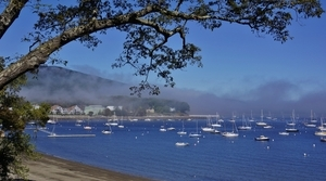 Fog Creeps in to Camden Harbor Ma