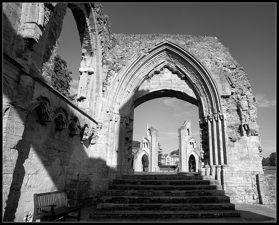 """Ruins at Glastonbury Abbey, Somerset, England"" 