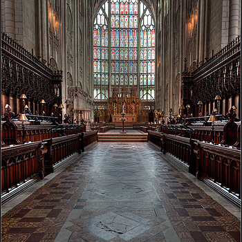 Looking Towards the High Altar, Gloucester Cathedral, England | ZEISS DISTAGON F2.8 21MM <br> Click image for more details, Click <b>X</b> on top right of image to close