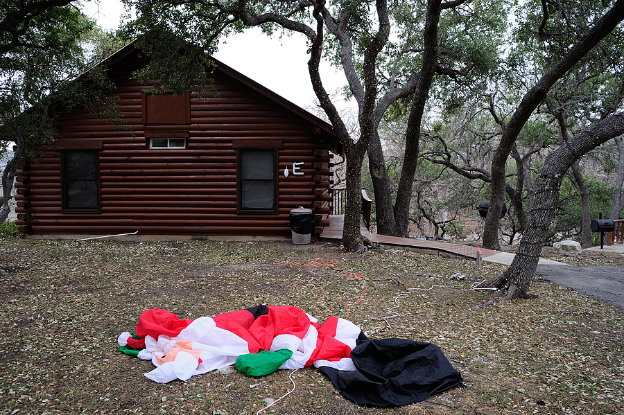 Deflated Santa - River Haven Cabins - Rio Frio TX | LENS MODEL NOT SET <br> Click image for more details, Click <b>X</b> on top right of image to close