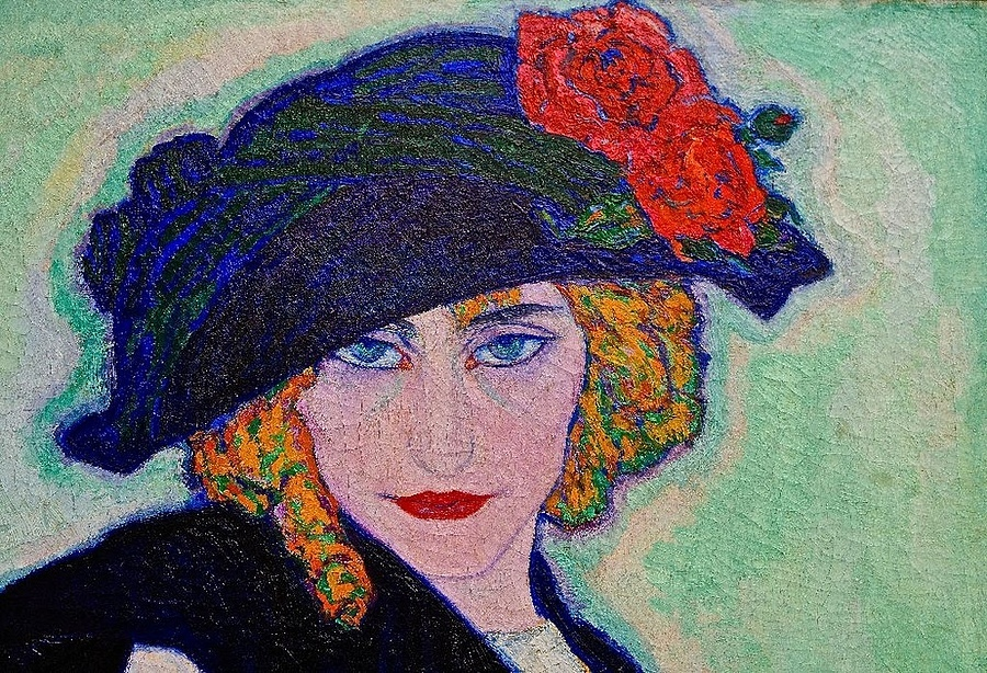 Leo Gestel: Woman with cigarette (cut-out), 1911 | LENS MODEL NOT SET <br> Click image for more details, Click <b>X</b> on top right of image to close