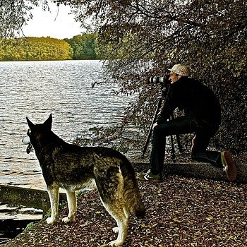 The photographer and his dog, Sloterplas, Amsterdam | LENS MODEL NOT SET