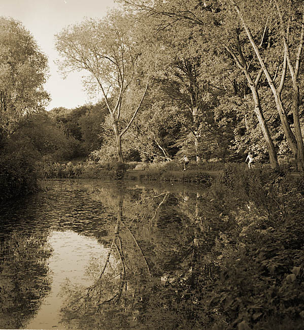 Reflections, River Stort, Herts. | ZEISS F PLANAR 2.8/80 <br> Click image for more details, Click <b>X</b> on top right of image to close