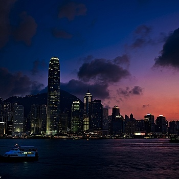Sunset Victoria Harbour Hong Kong